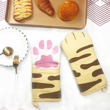 猫咪猫sa全棉创意厨ge烘焙防烫加厚烤箱耐高温微波炉专用手套