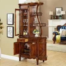 客厅进sa实木美式间mi户隔断柜装饰酒柜玄关柜欧式双面屏风柜