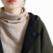 谷家 sa艺纯棉线高ti女不起球 秋冬新式堆堆领打底针织衫全棉