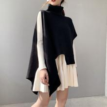 春秋冬季新式女士无袖sa7衣套头针al心裙高领宽松中长式坎肩