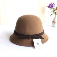 羊毛帽子女冬天圆顶小礼帽