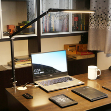 LEDsa臂电脑台灯ir桌卧室床头创意折叠工作阅读夹子灯