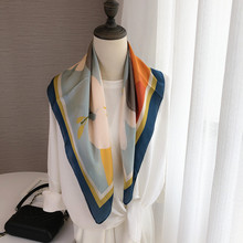 日系文sa油画漂亮女ir(小)方巾披肩装饰围巾多功能领巾春秋夏季