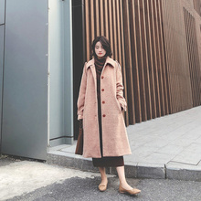 202sa年冬新式韩ir子毛呢外套女秋冬中长式加厚赫本风呢子大衣