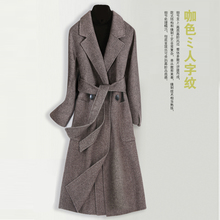 呢子大sa2020春ir修身反季毛呢外套韩款双面羊绒大衣女中长式