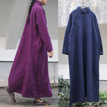 提花棉sa禅意立领中ge长式袍子连衣裙 复古文艺女式长衫长袍