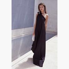 黑色气质显瘦斜肩sa5肩缎面沙bo衣裙海边度假沙滩露背长裙夏