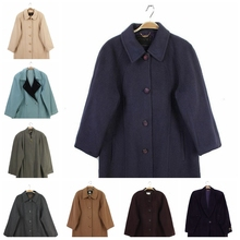 vinsaage古着bo古女士茧型廓型宽松长大衣 甜美多色羊绒羊毛呢