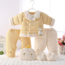 新生婴sa儿衣服套装en女宝宝棉衣棉服秋冬季初生婴儿棉袄纯棉