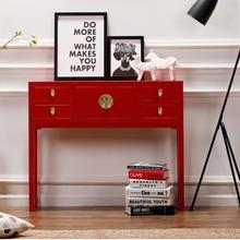 新中式实木斗柜现代欧式梳sa9台玄关台ke格简约储物置物柜子