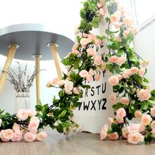 仿真玫sa花藤假花樱ke客厅暖气空调管道装饰缠绕遮挡塑料藤蔓