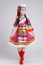 女童藏sa舞蹈演出服ke数民族特色服装宝宝服饰西藏表演服水袖
