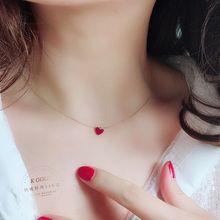 (小)红心sa链韩国14tr韩流行式 迷你红色爱心吊坠锁骨链