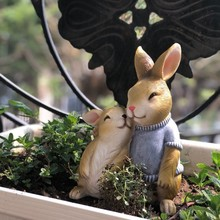 萌哒哒sa兔子装饰花an家居装饰庭院树脂工艺仿真动物
