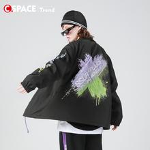 Csasace SSanPLUS联名PCMY教练夹克ins潮牌情侣装外套男女上衣