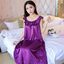 女士睡裙夏季无袖雪sa6加肥大码ra妇宽松女性感冰丝睡衣中长式