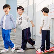 男女宝宝(小)学生校服裤白边运动裤藏sa13厚式校ra秋冬两条杠