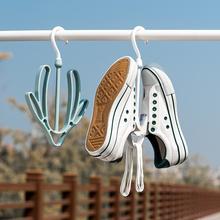 日本进sa阳台晒鞋架ra多功能家用晾鞋架户外防风衣架挂鞋架子