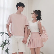 dissao情侣装夏ra20新式(小)众设计感女裙子不一样T恤你衣我裙套装