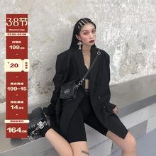鬼姐姐sb色(小)西装女ga新式中长式chic复古港风宽松西服外套潮