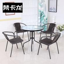 藤桌椅sc合室外庭院in装喝茶(小)家用休闲户外院子台上