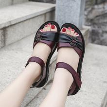 妈妈凉鞋女软sc夏季中年女la平底防滑大码中老年女鞋舒适女鞋