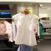 雪纺衬衫女短袖2021夏sc9新款甜美oo清新衬衣荷叶边洋气上衣