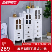 美式实sc(小)单门靠墙xw子简约多功能玻璃门餐边柜电视边柜