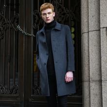 羊毛呢大衣sc2士双面呢jm中长式过膝韩款秋冬季加厚呢子风衣