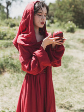 秋装2sc20年新式jm式微胖显瘦森系红色茶卡盐湖沙漠度假连衣裙