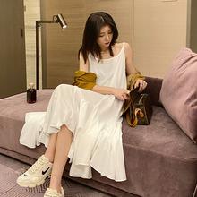 大元秋sc吊带连衣裙jm式白色不规则(小)白裙性感内搭打底长裙子