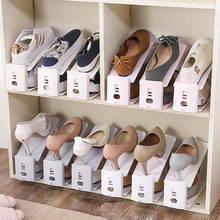 家用简易组sc鞋柜鞋架经ap子收纳架塑料双层可调节一体款鞋托