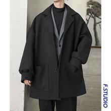 @方少男装 春季中长款休闲呢大衣