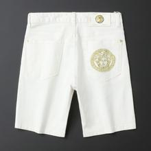 202sd男士新式夏pu白色牛仔短裤弹力刺绣五分裤潮牌男ins中裤