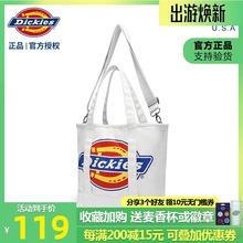 Dicsdies斜挎rq新式白色帆布包女大logo简约单肩包手提托特包
