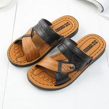 夏季老头软皮凉鞋男士两用sd9鞋厦天中wq拖鞋爸爸爷爷谅皮鞋