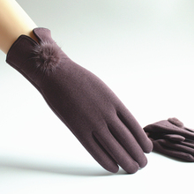 手套女se暖手套秋冬po士加绒触摸屏手套骑车休闲冬季开车棉厚