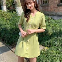 牛油果se色连衣裙2ch新式夏显瘦法式复古V领中女收腰 桔梗裙