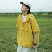 稀有rsere 20ca季原创日系简约工装 连帽纯色短袖冲锋衣T恤 男女