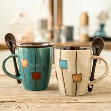 创意陶se杯复古个性ur克杯情侣简约杯子咖啡杯家用水杯带盖勺