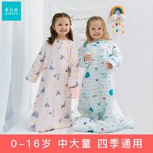 宝宝睡se冬天加厚式un秋纯全棉宝宝防踢被(小)孩中大童夹棉四季