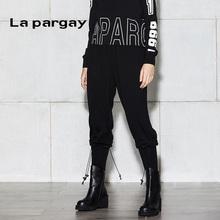 Lapsergay纳sh冬新式下脚抽绳装饰羊毛哈伦裤毛呢女式休闲裤