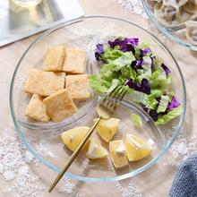 钢化玻se三分格餐盘er子早餐水果沙拉盘子分隔甜品零食圆盘