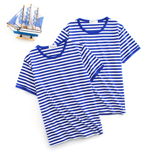 夏季海se衫男短袖tan 水手服海军风纯棉半袖蓝白条纹情侣装