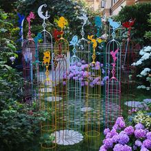 铁线莲se架爬藤架铁an攀爬庭院装饰户外彩色仙子花架花盆支架