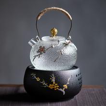 日式锤se耐热玻璃提an陶炉煮水泡烧水壶养生壶家用煮茶炉