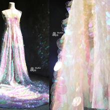 鱼鳞 设计师se3料圆形亮ls纱布料 婚纱礼服蕾丝服装辅料网布