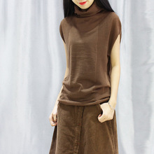 新式女se头无袖针织lu短袖打底衫堆堆领高领毛衣上衣宽松外搭