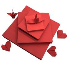 大红色se纸鹤 正方ludiy卡纸纯色折爱心宝宝益智剪纸材料