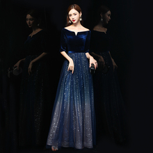 丝绒晚se服女202lu气场宴会女王长式高贵合唱主持的独唱演出服